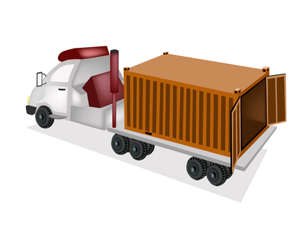 loading dock: An Orange Freight Container on The Back of A Flatbed Truck, Tractor Trailer or Flatbed Articulated Lorry for Trucking Products and Materials from Overseas Shipping.