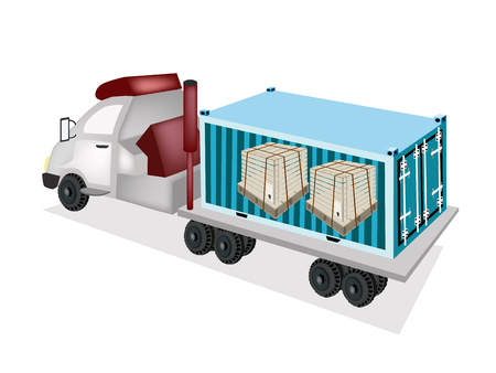 strapping: A Freight Container Trucking Wooden Crates or Cargo Boxes Protection with Steel Banding on The Back of A Flatbed Truck or Flatbed Articulated Lorry.