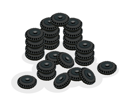 An Illustration Stack of Tyres, Tires or Car Wheels, Equipment for Car or Truck Isolated on A White Background.   Vector
