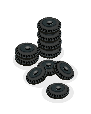 Illustration Stack of Tyres, Tires or Car Wheels, Equipment for A Car or A Truck Isolated on A White Background.  Vector