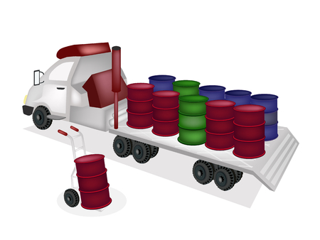 dolly: Hand Truck or Dolly Loading Oil Drums or Oil Can into A Flatbed Truck or Flatbed Articulated Lorry, Ready for Shipping or Delivery.  Illustration