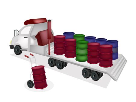 oliedrum: Vrachtwagen van de Hand of Dolly Laden Oil Drums of de Olie in A Flatbed Truck of Flatbed vrachtwagencombinatie, klaar voor verzending of levering.