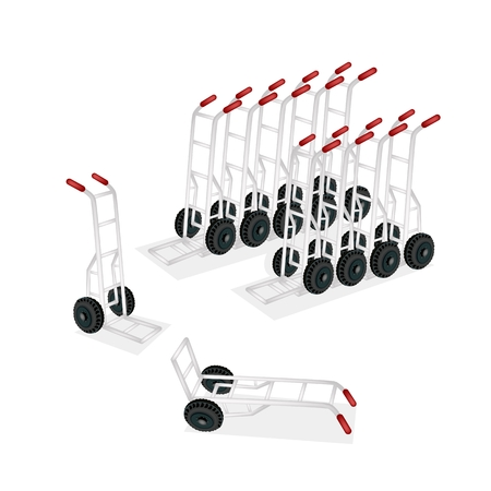 An Illustration of Warehouse or Construction Equipment, Hand Trucks or Dolly Trucks   Vector
