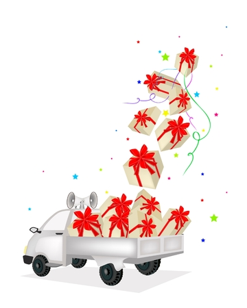 pick light: Lovely Gift Boxes with Red Ribbon and Bow Falling From The Air into A Pickup Truck, A Perfect Gift or Present for Someone Special.   Illustration