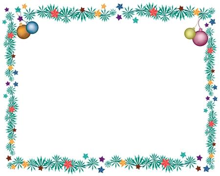 텍스트 장식 복사 공간 크리스마스 프레임에 장식 된 사랑스러운 크리스마스 공 또는 크리스마스 장식품의 Vaus 색상입니다.