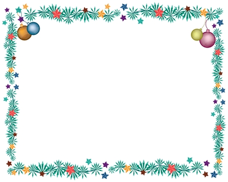 Various Colors of Lovely Christmas Balls or Christmas Ornaments Decorated on Christmas Frame with Copy Space for Text Decorated.  Illustration