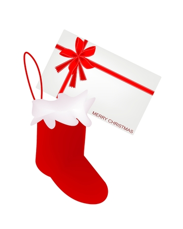 Red Checked Christmas Stocking Decorated with Red and Golden Stars Waiting for Santa Claus is Coming on Christmas Night. 