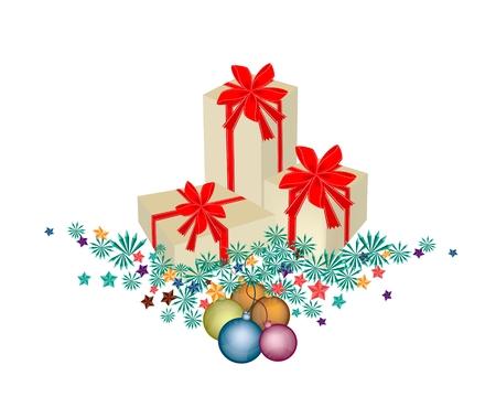 three gift boxes: Tres cajas de regalo decoradas en ramas de �rbol de navidad y bolas de navidad o adornos de Navidad decorado