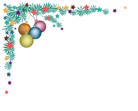 Various Colors of Lovely Christmas Balls or Christmas Ornaments Decorated on Christmas Corner or L-Shaped Border with Copy Space for Text Decorated. Stock Vector - 24219498
