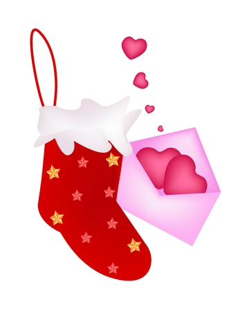 Red Checked Christmas Stocking with A Letter of Two Heart in Pink Envelope Waiting for Santa Claus is Coming on Christmas Night. Stock Vector - 24219504