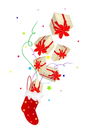 Lovely Gift Boxes with Red Ribbon and Bow Falling From The Air into Red Checked Christmas Stocking Stock Vector - 24219505