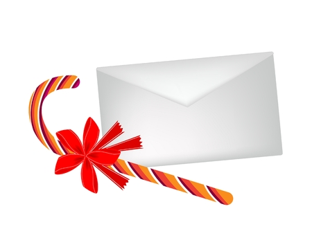 A Lovely Candy Cane in Orange and Yellow Stripes with An Envelope Vector