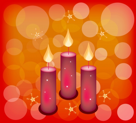 Three Christmas Candles with Snowflake and Bokeh Lights on Red Color Festive Background with Copy Space for Text Decorated. Stock Vector - 24219595