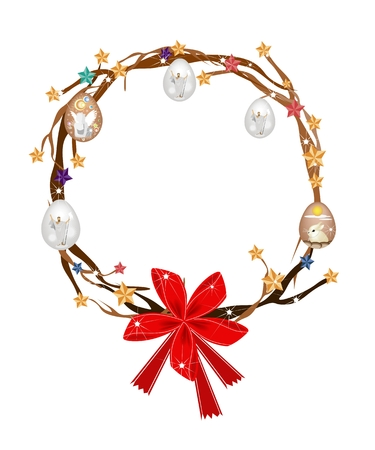 Christmas Wreath of Tree Branch Decorated with Christmas Ornaments, Stars, Easter Eggs and Red Bow, Sign for Christmas Celebration  Vector
