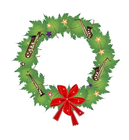 tenor: Christmas Wreath of Green Maple Leaves  Decorated with Red Bows, Stars, Ornaments and Saxophones, Sign for Christmas Celebration