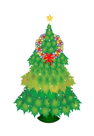 topper: Christmas Tree of Green Maple Leaves  Decorated with Christmas Wreath of Baubles or Christmas Balls and Golden Star Tree Topper, Sign for Christmas Celebration.