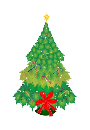 topper: Christmas Tree of Green Maple Leaves Decorated with Lovely Candy Canes and Red Ribbon with Golden Star Tree Topper, Sign for Christmas Celebration.   Illustration