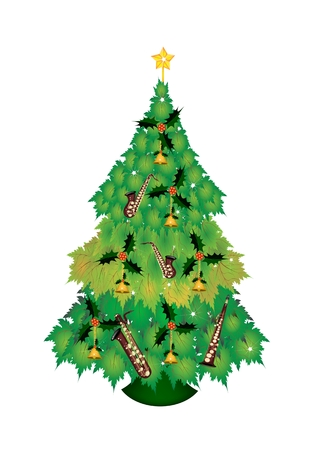 topper: Christmas Tree of Green Maple Leaves Decorated with Christmas Bell, Saxophones and Golden Star Tree Topper, Sign for Christmas Celebration.