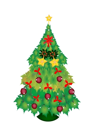 topper: Christmas Tree of Green Maple Leaves Decorated with Lovely Apple, Star Ornaments and Red Ribbon with Golden Star Tree Topper, Sign for Christmas Celebration.