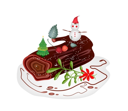 A Traditional Christmas Cake, Yule Log Cake or Buche de Noel with Mistletoe Bunch for Christmas Celebration, Isolated on White .  Vector
