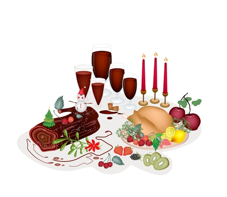 roast dinner: A Traditional Christmas Dinner of Roast Turkey, Fruits, Red Wine and Christmas Cake or Yule Log Cake for Christmas Celebration.  Illustration