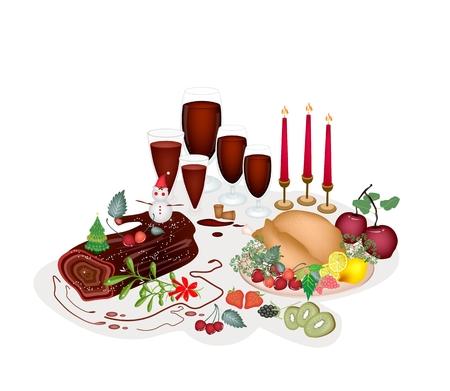 gateau de noel: Un d�ner de No�l traditionnel de dinde r�tie, Fruits, vin rouge et g�teau de No�l ou de No�l G�teau Connexion pour la c�l�bration de No�l.