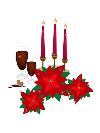 traditional christmas dinner: A Traditional Christmas Dinner of Red Wine with Red Poinsettia Plants and Candles for Christmas Celebration.
