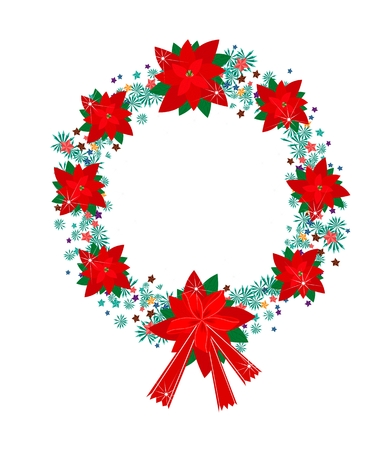 A Beautiful Christmas Wreath of Red Poinsettia Plants and Star Ornaments with Lovely Red Bow, Sign for Christmas Celebration.  Vector