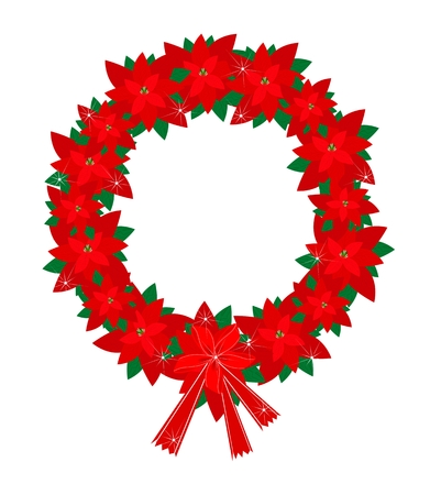 A Beautiful Christmas Wreath of Red Poinsettia Plants with Lovely Red Bows, Sign for Christmas Celebration.  Vector