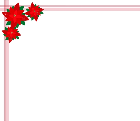 Beautiful Christmas Flowers or Red Poinsettia Plants Decorated on Christmas Corner with Copy Space for Text Decorated. Stock Vector - 24531792