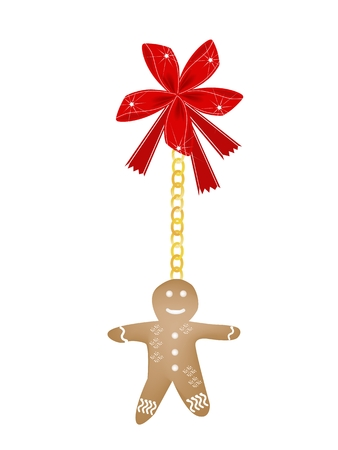 fortune cookie: A Traditional Homemade Christmas Gingerbread Man Cookie Decorated with White Icing Hanging on Red Ribbon For Christmas Celebration.