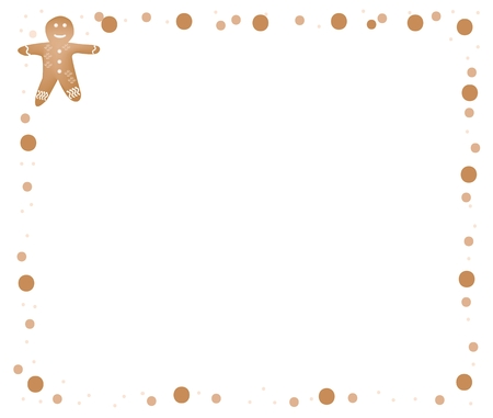 Food and Bakery, Christmas Gingerbread Man Cookie Decorated with White Icing on Brown Border for Christmas Celebration.  Vector