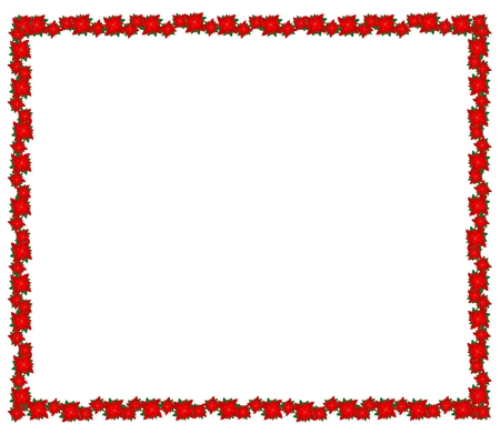 Beautiful Christmas Flowers or Red Poinsettia Plants Decorated on Christmas Frame with Copy Space for Text Decorated.