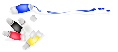 Paint Tubes or Color Tube of White, Black, Red and Yellow with Blue Color Paint From A Tube Vector