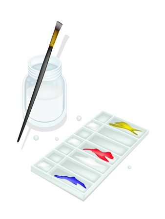Red, Blue and Yellow Color Paint in Rectangle Plastic Art Palette With A Craft Paintbrushes or Artist Brushes and Glass Jar for Draw and Paint A Picture. Stock Vector - 24657508