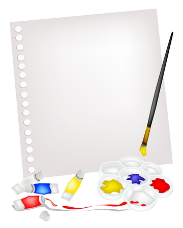 Art Supply, Paint Tubes and Plastic Art Palette With A Craft Paintbrushes or Artist Brushes Lying on Blank Spiral Paper for Draw and Paint A Picture. Stock Vector - 24657521