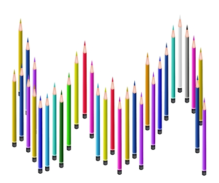 Art Supply, A Lot of Colorful Colored Pencil Crayons for Sketch and Draw A Picture Isolated on White Background Vector