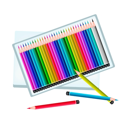 Art Supply, A Box of Colored Pencil Crayons in An Assortment of Colors for Sketch and Draw A Picture Isolated on White Background Vector