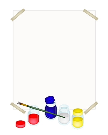 drawing paper: Red, Blue and Yellow Poster Color Paint Jars With Craft Paintbrushes or Artist Brushes and A Drawing Paper for Draw and Paint A Picture