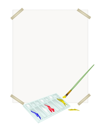 drawing paper: Red, Blue and Yellow Color Paint in Rectangle Art Palette With A Craft Paintbrushes or Artist Brushes and Drawing Paper for Draw and Paint A Picture