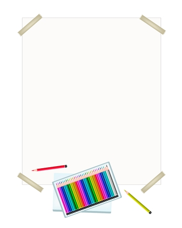 drawing paper: Art Supply, A Box of Colored Pencil Crayons in An Assortment of Colors Laying on A Drawing Paper for Sketch and Draw A Picture