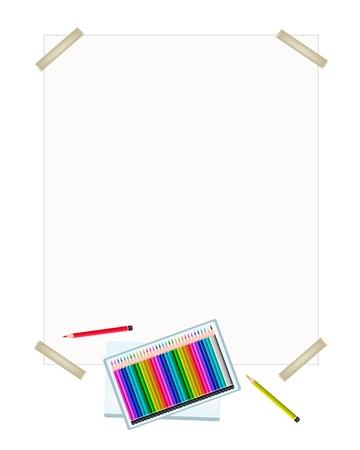 Art Supply, Una Caja De Colores Lápiz Lápices De Colores En Una ...