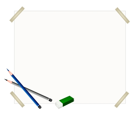 sharpened: Art Supply, Two Sharpened Detailed Pencils and Eraser Laying on Drawing Paper for Writing or Sketch and Draw A Picture