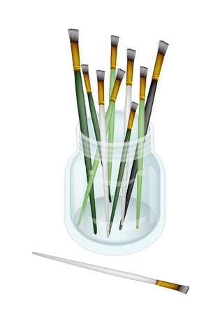 Art Supply, Stack of Craft Paintbrush or Artist Brushes in A Glass Jar for Draw and Paint A Picture Isolated on White Background  photo