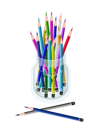 Art Supply, An Illustration Collection of Colorful Colored Pencil Crayons for Sketch and Draw A Picture in Glass Jar Isolated on White Background.  illustration