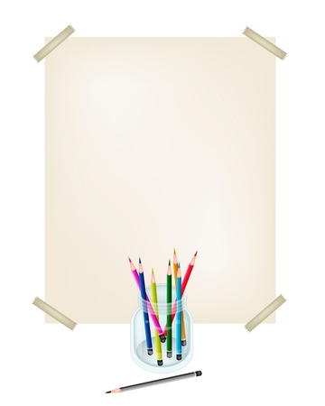 Art Supply, An Illustration Collection of Colorful Colored Pencil Crayons  in Glass Jar with A Drawing Paper for Sketch and Draw A Picture.  illustration
