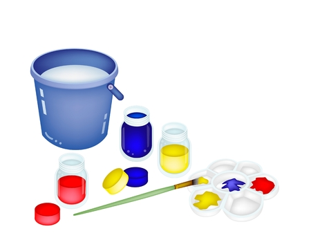 Red, Blue and Yellow Color Paint Jars and Plastic Art Palette With Craft Paintbrushes Vector