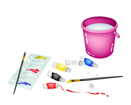 Paint Tubes and Plastic Art Palette With Craft Paintbrushes  Vector
