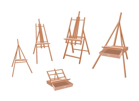 Art Supply, Various Size of Empty Wooden Easels for Writing or Sketch and Draw A Picture.  Vector