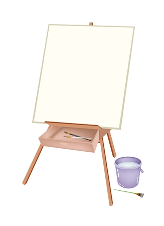 Wooden Easel with Blank Canvas and Craft Paintbrushes or Artist Brush and Water Bucket for Draw and Paint A Picture.  Vector